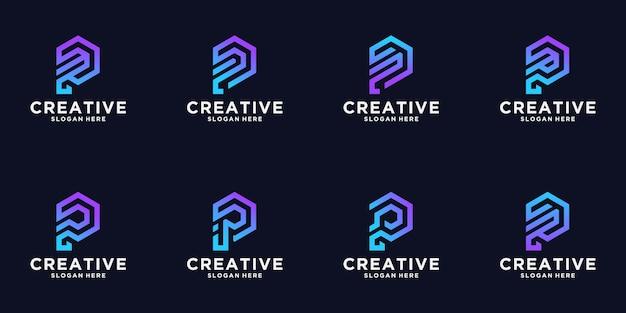 Set van creatieve letter p logo-ontwerp, zeshoek concept, tech-logo