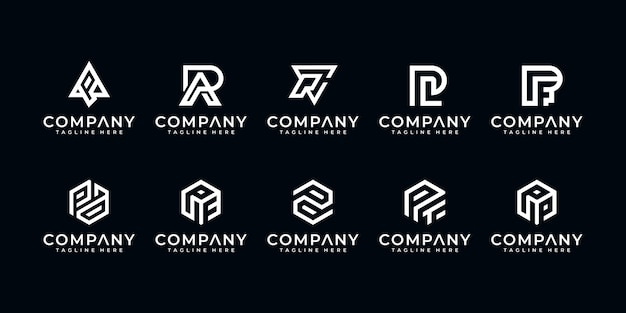Set van creatieve letter p monogram abstracte logo ontwerpsjabloon