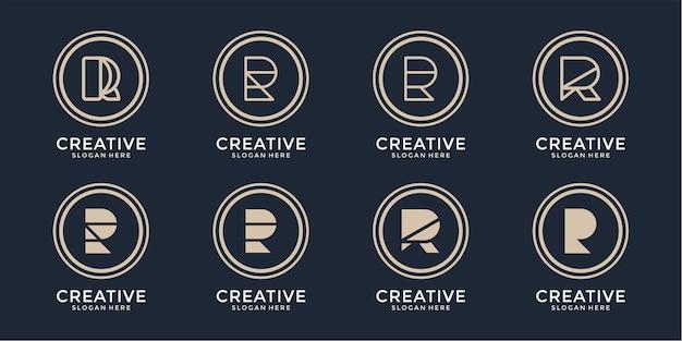 Set van creatieve letter r logo-ontwerp