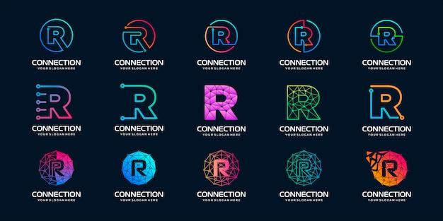 Set van creatieve letter r moderne digitale technologie-logo. het logo kan worden gebruikt voor technologie, digitaal, verbinding, elektrisch bedrijf.