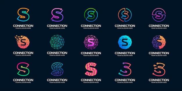 Set van creatieve letter s moderne digitale technologie-logo. het logo kan worden gebruikt voor technologie, digitaal, verbinding, elektrisch bedrijf.