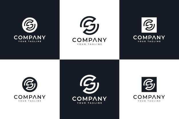 Set van creatieve letter sg logo-ontwerp voor alle toepassingen