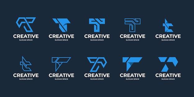 Set van creatieve letter t met kruisende hoeken