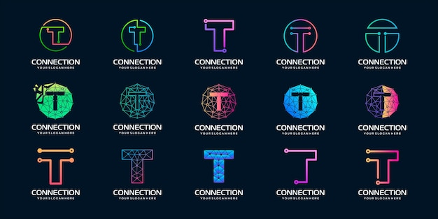Set van creatieve letter t moderne digitale technologie logo