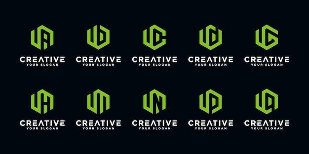 Set van creatieve letter u en etc logo ontwerpsjabloon met zeshoekige stijl