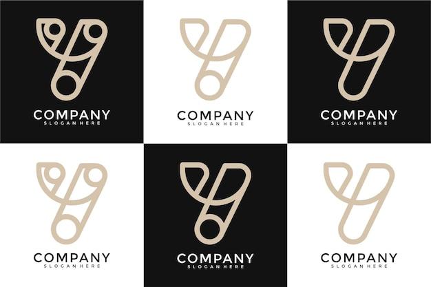Set van creatieve letter y logo-sjabloon