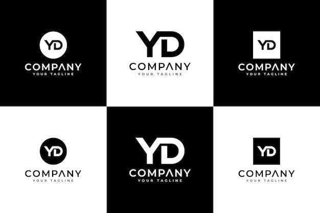 Set van creatieve letter yd logo-ontwerp voor alle toepassingen