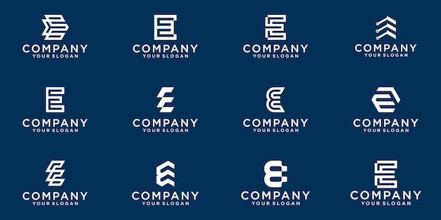 Set van creatieve lettermark monogram briefsjabloon e logo.