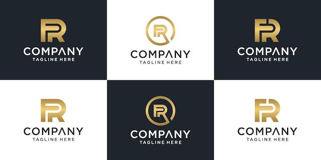 Set van creatieve lettermark monogram briefsjabloon fr logo.