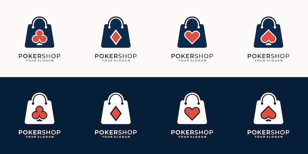 Set van creatieve logo poker- en winkelcombinatie in silhouet moderne stijl.