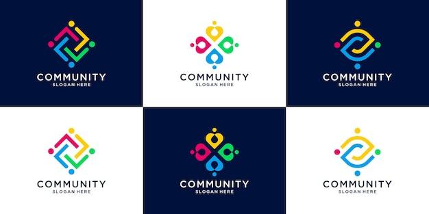 Set van creatieve mensen familie en menselijke eenheid logo collectie.