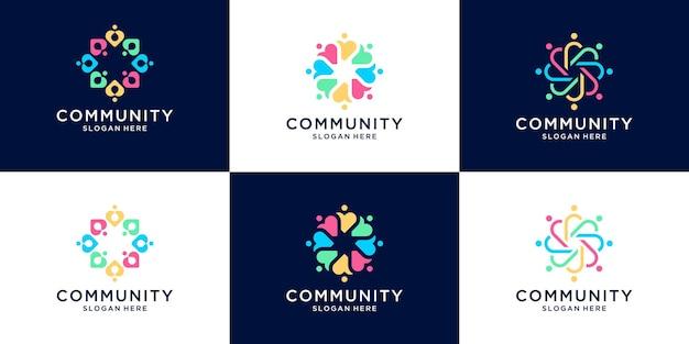 Set van creatieve mensen menselijke eenheid logo collectie.