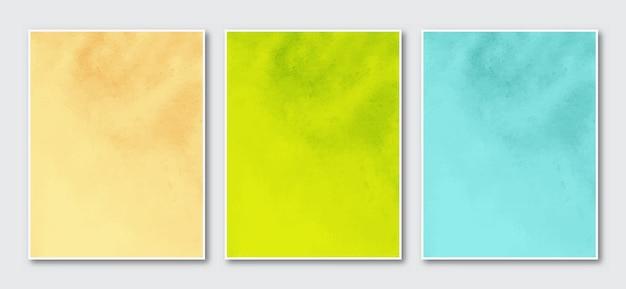 Set van creatieve minimalistische handgeschilderde abstracte aquarel kunsten achtergrond kromme lijnen vorm set van drie.