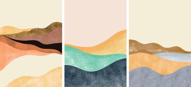 Set van creatieve minimalistische handgeschilderde. abstracte kunsten achtergrond.