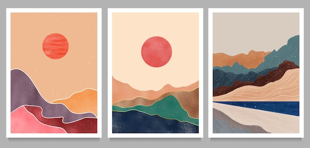 Set van creatieve minimalistische handgeschilderde illustraties van mid century modern. natuurlijke abstracte landschapsachtergrond. berg, bos, zee, lucht, zon en rivier