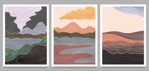 Set van creatieve minimalistische handgeschilderde illustraties van mid century modern.