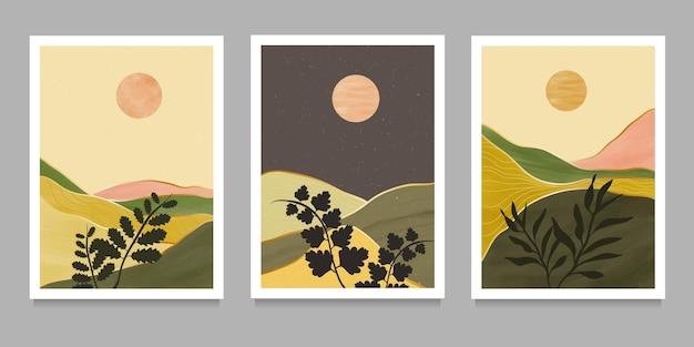 Set van creatieve minimalistische handgeschilderde illustraties van midden van de eeuw modern.