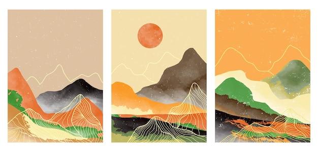 Set van creatieve minimalistische handgeschilderde illustraties van moderne kunst uit het midden van de eeuw. natuurlijke abstracte landschapsachtergrond. berg, bos, zee, lucht, zon en rivier