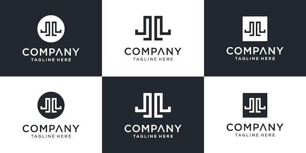Set van creatieve monogram brief jl logo sjabloon