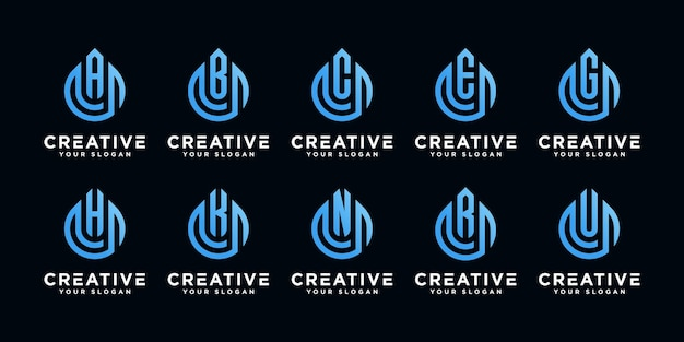 Set van creatieve monogram brief met olie drop logo ontwerpsjabloon Premium Vector