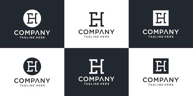 Set van creatieve monogram briefsjabloon eh logo.