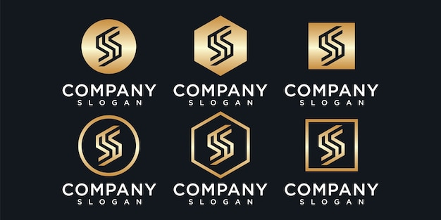 Set van creatieve monogram briefsjabloon s logo