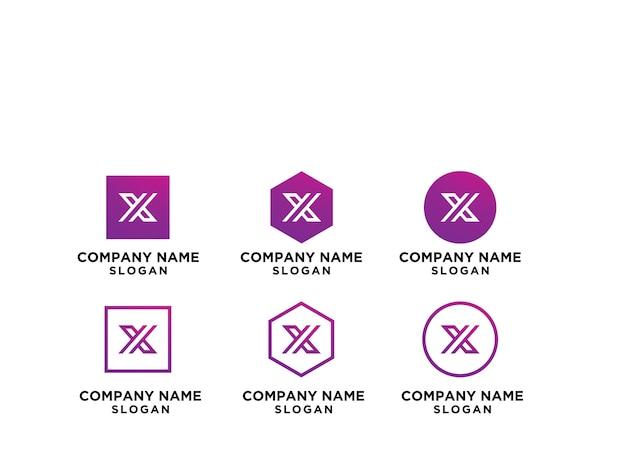 Set van creatieve monogram briefsjabloon x logo.