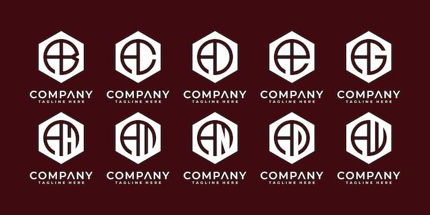 Set van creatieve monogram initiaal een logo sjabloon iconen voor zakelijke logo ontwerpsjablonen.