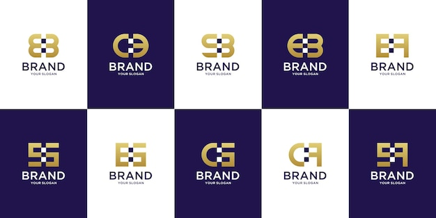Set van creatieve monogram letter a tot z-logo voor moderne digitale technologie