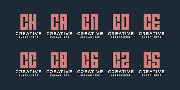 Set van creatieve monogram letter c logo ontwerpsjabloon. het logo kan worden gebruikt voor bouwbedrijf.