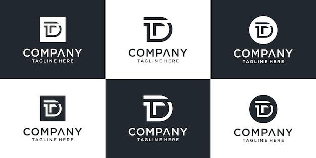 Set van creatieve monogram letter dt logo ontwerpinspiratie