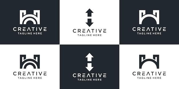 Set van creatieve monogram letter h-logo.