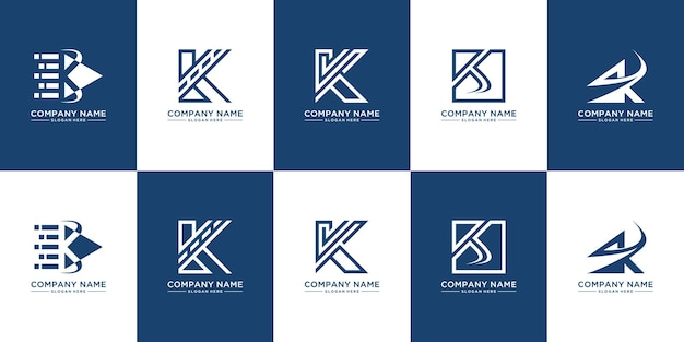 Set van creatieve monogram letter k logo-ontwerp
