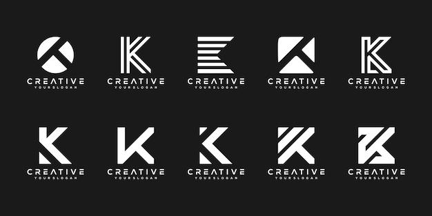 Set van creatieve monogram letter k logo ontwerpsjabloon. het logo kan worden gebruikt voor bouwbedrijf.