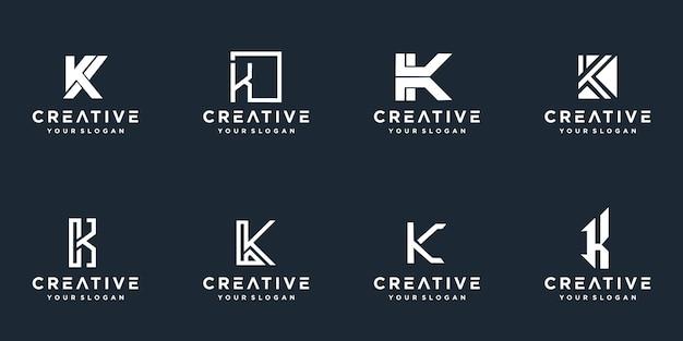 Set van creatieve monogram letter k-logo.