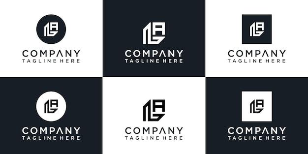 Set van creatieve monogram letter l-logo
