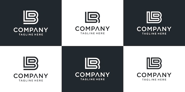 Set van creatieve monogram letter lb logo ontwerpinspiratie