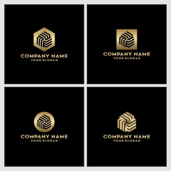 Set van creatieve monogram letter m logo-ontwerp