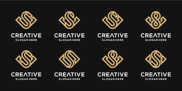 Set van creatieve monogram letter s en v combinatie gouden ontwerpsjabloon.