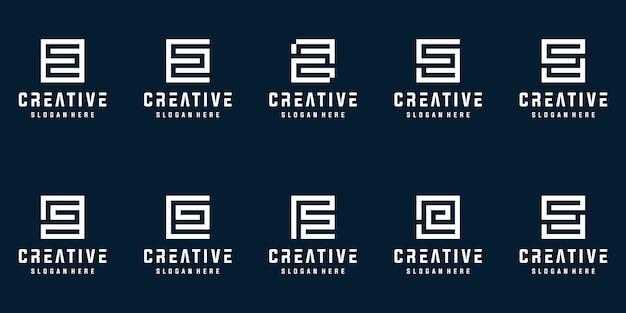 Set van creatieve monogram letter s logo ontwerpsjabloon