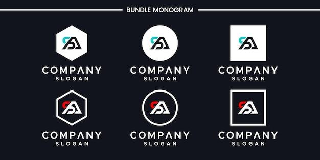 Set van creatieve monogram letter sa logo-ontwerp