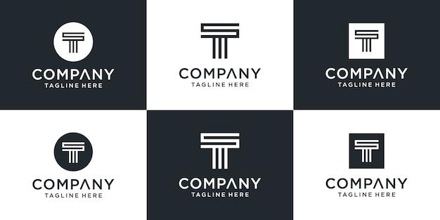 Set van creatieve monogram letter t logo ontwerpinspiratie