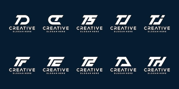 Set van creatieve monogram letter t logo ontwerpsjabloon