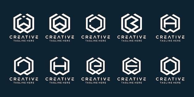 Set van creatieve monogram letter w logo sjabloon