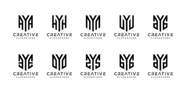 Set van creatieve monogram letter y logo ontwerpsjabloon