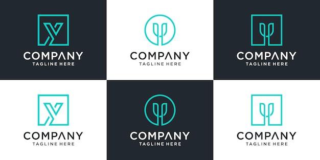 Set van creatieve monogram letter y logo sjabloon