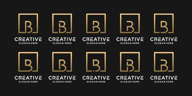 Set van creatieve monogram logo ontwerp eerste letter b met vierkante stijl.