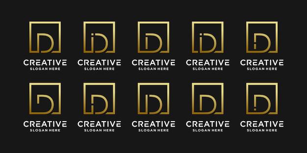 Set van creatieve monogram logo ontwerp eerste letter d met vierkante stijl.