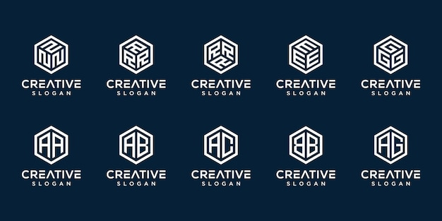 Set van creatieve monogram logo zeshoek