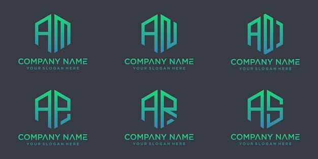 Set van creatieve monogrambrieven